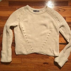 360 Sweater cream knit sweater with cuff leaves